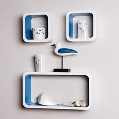 Wooden MDF cosmos cube wall shelf floating rack C Cube Wall Shelf, Cube Shelves, Cube Storage, Wall Shelves, Floating Shelves, Shelving, Wood, House Decorations, Stuff To Buy