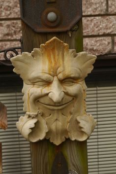 Green Man is a sculpture, drawing, or other representation of a face surrounded by or made from leaves.  Found in many cultures from many ages around the world, the Green Man is often related to natural vegetative deities. It is primarily interpreted as a symbol of rebirth, representing the cycle of growth each spring.