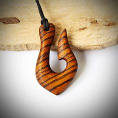 Fish hook Wood necklace Wooden jewelry Maori necklace Wood