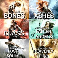 Shadowhunters • City of BONES • City of ASHES • City of GLASS • City of FALLEN ANGELS • City of LOST SOULS • City of HEAVENLY FIRE • Jace Herondale • Clary Fray • Simon Lewis • Isabelle Lightwood • Alec Lightwood • Jonathan Christopher Morgenstern