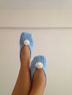 Baby blue with white pompom  Healthy Booties Home by NesrinArt, $19.00