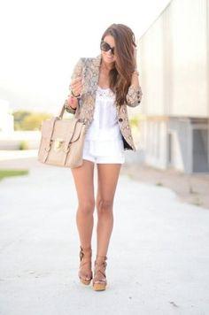Shop this look on Kaleidoscope (blazer, top, shorts, purse, shoes, sunglasses)  http://kalei.do/Vs3Rb1QrQCn4xY63