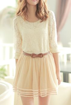 pretty cream skirt and blouse