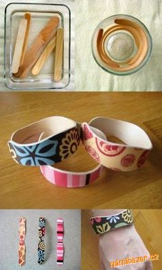DIY: popsicle stick bracelets: boil in water for 15 minutes then place in cup to dry. Decorate with markers, buttons, glitter, or decoupage. Royer new use for those popsicle sticks.I may bring some of these with me. Kids Crafts, Cute Crafts, Crafts To Do, Craft Projects, Arts And Crafts, Craft Ideas, Diy Ideas, Stick Crafts, Family Crafts