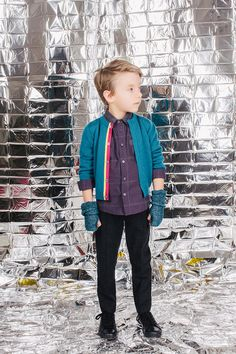 The contrast trim on the cardigan is a key look for fall 16 kidswear, here at Paade Mode