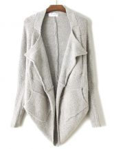 Grey Batwing Long Sleeve Asymmetrical Loose Cardigan - Sheinside.com