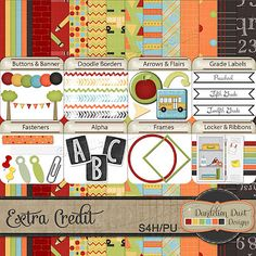 Digital Scrapbooking Extra Credit Kit By Dandelion Dust Designs #DandelionDustDesigns #DigitalScrapbooking