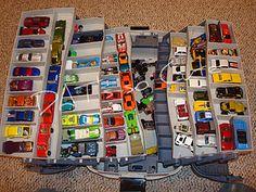 Fishing tackle box turned hot wheel organizer.