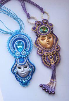 Pendenti soutache: maschere veneziane