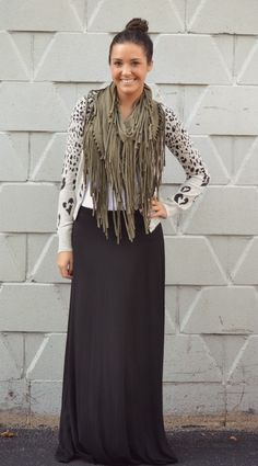 Black maxi skirt coming soon! And I have a grey scarf just like this