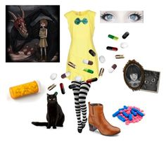 """""""Fran Bow"""" by trashmadame ❤ liked on Polyvore featuring Pinko Tag, horror, cosplay, videogame and FranBow"""