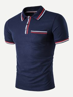To find out about the Men Striped Detail Polo Shirt at SHEIN, part of our latest Men Polo Shirts ready to shop online today! Mens Polo T Shirts, Gym Shirts, Shirt Men, Shirt Refashion, T Shirt Diy, Trench Dress, Striped Fabrics, White Shirts, Fashion News