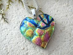 Heart Necklace  Dichroic Jewelry  Rainbow Heart  by ccvalenzo