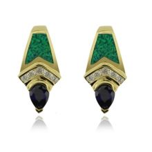 Great Gold Plated Earrings With Drop Cut Tanzanite and Australian Opal.