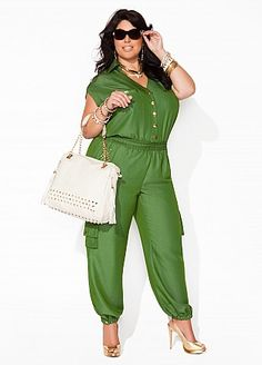 Plus size fashion jumpsuit jumper green #UNIQUE_WOMENS_FASHION http://stores.ebay.com/VibeUrbanClothing