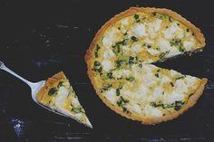 corn, ricotta and spring onion tart