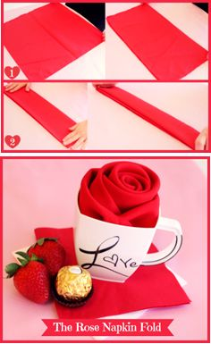 DIY 'Romantical' Napkin Folding How to turn a napkin into a rose. Napkin Origami, Napkin Folding, Valentines Day Party, Be My Valentine, Made Up Words, Cloth Dinner Napkins, Beverage Napkins, Romantic Dinners, Deco Table