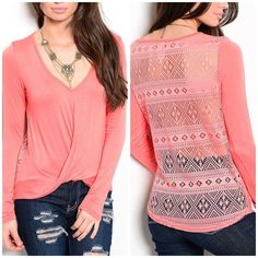 """Melon colored crochet back top So pretty! Draped front and crochet back. Made in USA . 96% polyester 4% spandex. 23"""" long in front 25"""" long in back. New without tags. Small: 34"""" bust. Medium: 36"""" bust. Large: 38"""" bust. ✨15% off bundles. Select size and Use bundle feature✨ Next day shipping✨ Tops"""
