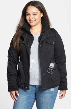 Free shipping and returns on City Chic Rib Trim Belted Utility Jacket (Plus Size) at Nordstrom.com. A military-inspired webbed belt adds figure-flattering definition to a rugged twill jacket fronted with a quartet of snap-flap pockets. A hearty ribbed-knit inset at the collar and cuffs adds a cozy touch.