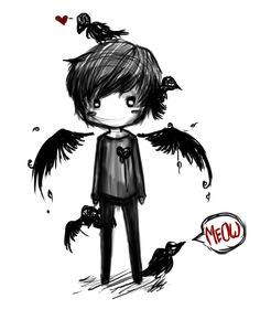 Please adopt Aaron,he's a fallen angel and an outcast,crows follow him everywhere and he loves anything dark and misunderstood