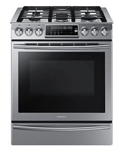 Samsung 30 Inch Slide-In Gas Range with cu. Oven Capacity, Flex Duo convection fans, Dual oven doors, Self-cleaning, Child lock and Wi-Fi Connection in Black Stainless Steel Kitchen Stove, Kitchen Appliances, Kitchen Cabinets, Kitchen Reno, Kitchen Gadgets, Small Appliances, Kitchen Tools, Kitchen Cooktops, Barn Kitchen