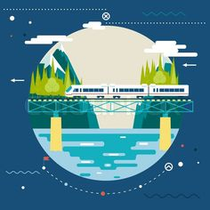 Buy Planning Summer Vacation, Tourism and Journey Symbols by Meilun on GraphicRiver. Planning Summer Vacation, tourism and Journey Symbol Railroad Train Travel on Stylish Background Modern Flat Design V. Flat Design, Zug Illustration, Train Vector, Clip Art, Meeting New Friends, Digital Portrait, Train Travel, Motion Design, Transportation