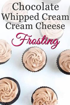 Chocolate Whipped Cream Cream Cheese Frosting - The Merchant Baker Whipped Cream Cakes, Stabilized Whipped Cream, Chocolate Cream Cheese Frosting, Chocolate Whipped Cream, Chocolate Icing, Cake Frosting Recipe, Frosting Recipes, Dessert Recipes, Desserts