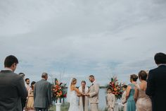 The River House. Ceremony options. Birds of paradise and tropical wedding florals.