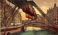 When I first saw an image of the Wuppertal Schwebebahn, I didn't think it was real - I assumed it was either some half-baked, late 19th century utopian dream that never happened, or maybe part of some kind of steam punk style film set.  But I'm happy to report, it does exist, and has done for over 110 years! You can even go check it out on street view! - Most of it runs along a river like this, but the best looking bit runs along this road here.  The track was opened in 1901, and is st