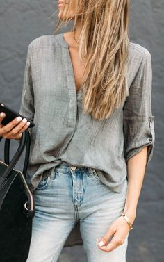 Grey V Neck High Low Top