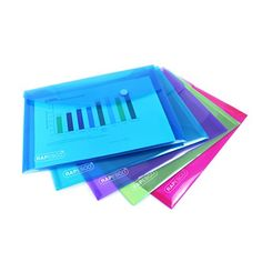 From 1.77 Rapesco 0689 Popper Wallet - A5. Assorted Transparent Colours Pack Of 5