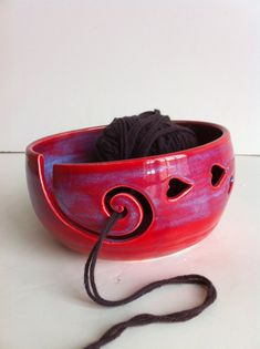 Purple Red LOVE Ceramic Yarn Bowl Made To by NewMoonStudio