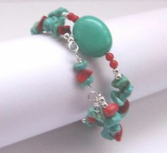 Howlite Turquoise Oval AAA Red Coral and Howlite Gemstone Chips Bracelet. Save 28% during the February sale, $10.79, Free Shipping and gift bag.