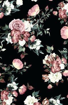 Vintage rose wallpaper astonishing vintage pink and cream dark floral wall mural wallpaper a image of Black Floral Wallpaper, Floral Wallpaper Iphone, Vintage Flowers Wallpaper, Vintage Floral Wallpapers, Flower Wallpaper, Pattern Wallpaper, Cute Wallpapers, Wallpaper Backgrounds, Cream Wallpaper