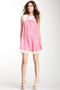 """Strawberry Fields Dress by Free People   - Crew neck  - Sleeveless  - Keyhole back with button closure  - Floral embroidered yoke  - Knit construction  - Fully lined  - Approx. 35"""" length  Fiber Content  Shell: 100% cotton  Lace: 100% nylon  $128.00"""