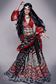 Beautiful gypsy outfit on doll