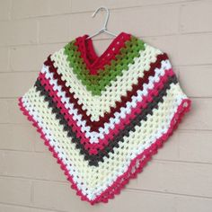 Granny square, ponchos, kids clothes, knitted ponchos, kid's clothing, crochet top, kidswear, childrens clothes, sweater, girls poncho by CreatedForYouAndMe on Etsy