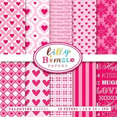 Valentine Papers for digital scrapbooking cards by LillyBimble, $4.00