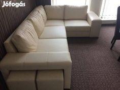 Eladó Fehér Bőr sarok kanapé + fotel. Sarok ülőgarnitúra Akciós ...
