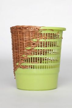 """ricochet: """" Cordula Kehrer Plastic buckets, bowls, and tubs usually end up on the waste disposal site — at least when they start to leak or show other kinds of damage. For Cordula Kehrer, however,.Bow Bins series by Cordula KehrerCordula Kehrer h Willow Weaving, Basket Weaving, Plastic Buckets, Plastic Items, Make Do And Mend, Easy Home Decor, Weaving Techniques, Diy Storage, Diy Furniture"""