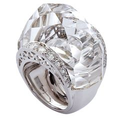 Rock Crystal Ring | DAVID WEBB Large Rock Crystal and Diamond Platinum Ring at 1stdibs