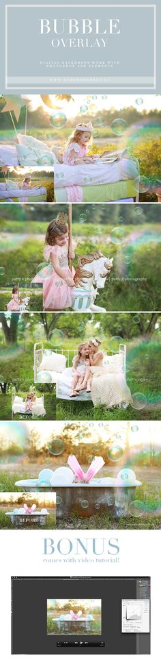 THE perfect bubble overlays! Works in Photoshop and Elements and is absolutely perfect for those hot summer sessions! Add a little magic to your pictures | Modern Market