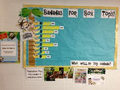 Bananas for Box Tops bulletin board showing monthly collection contest results and individual prizes up for grabs at end of year