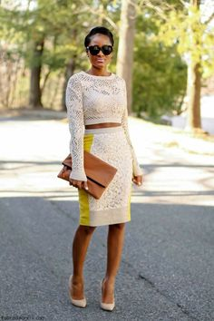 Spring nude tones - cropped top and pencil skirt. A Lil more covered in the midriff though