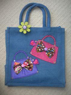 Hand decorated jute bags! www.jennyeddendesigns.co.uk b530fa8354831