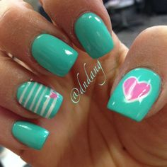 I love the color of these nails! especially with the pink heart! so cute! #nail #nailart