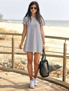 Top 10 Summer 2014 Outfits – Strips and Converse Style // Casual Chic Cute Dresses, Casual Dresses, Casual Outfits, Simple Outfits, Beach Dresses, Casual Wear, Comfortable Outfits, Tight Dresses, Maxi Dresses
