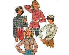Sewing Pattern for 70s Shirt with Band, Tie or Ruffle Collar, Simplicity 8738 #70sFashion #YokeShirt #RuffleTrim #1970sShirts #PlusSizeSewing #Retro70sFashion #TheOldLeaf