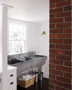 That is the perfect sink for either a laundry room or a mud room. Makes me nostalgic for my Grandma Edie's laundry sink. Laundry Tubs, Mudroom Laundry Room, Laundry Room Design, Laundry In Bathroom, Washroom, Laundry Basket, Garden Sink, Concrete Sink, Wash Tubs