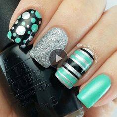 dots and strips nail art design how to video!